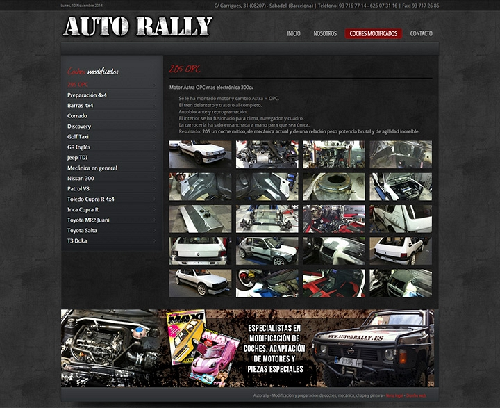 Diseño web corporativo para AUTO RALLY