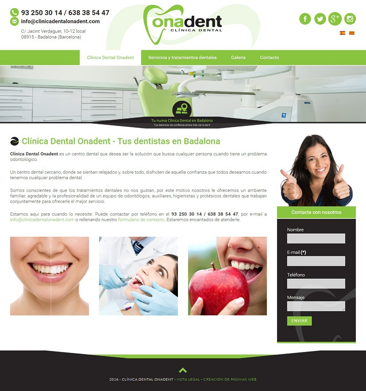Clínica dental Onadent - Web